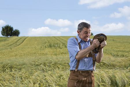 Germany,Bavaria,Farmer getting angry