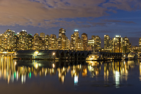 Canada,Vancouver,Marina with ships and skyline at night LANG_EVOIMAGES
