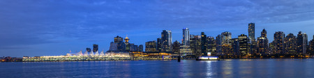Canada,British Columbia,Vancouver,View of city skyline at night LANG_EVOIMAGES