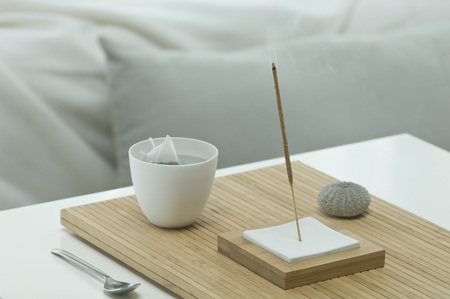 Aromatheraphy,tea,scent,aroma sticks,sea urchin shell,with a bed visible in the backgroud,studio