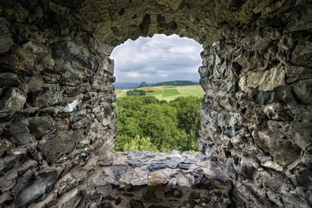 Germany,Baden Wuerttemberg,Constance,View of Hegau landscape seen through ruin window
