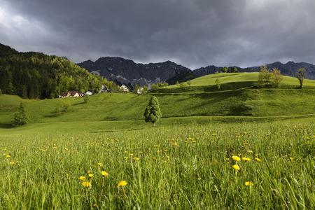 Austria,Carinthia,View of village near Karawanks mountain range LANG_EVOIMAGES