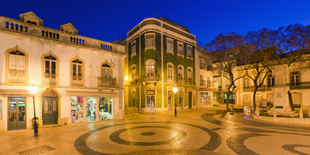 Portugal,Lagos,View of Luis de Camoes square at night LANG_EVOIMAGES