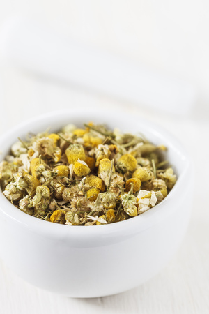 Dried chamomile in mortar,studio shot LANG_EVOIMAGES