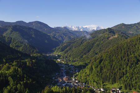 Austria,Carinthia,View of Bad Eisenkappel village near mountains