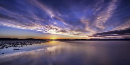 Scotland,Edinburgh,View of beach at sunset