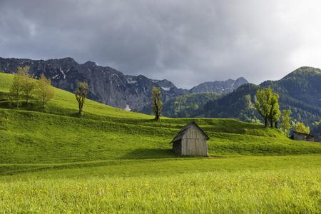 Austria,Carinthia,View of hut near Karawanks mountain range