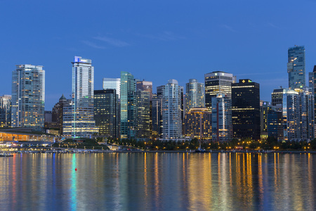 Canada,Skyline of Vancouver at night