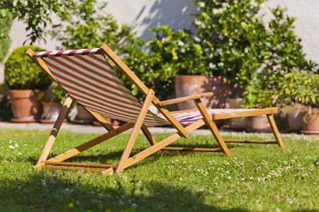Germany,Stuttgart,Sun lounger in garden