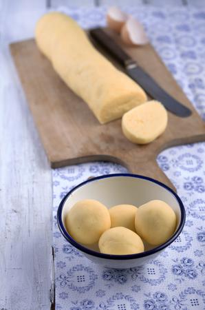 Preparing potato dumplings,studio shot