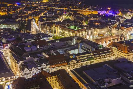 Germany,Saxony,Leipzig,City center at dusk