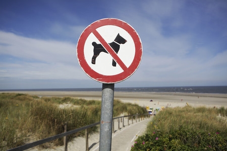Germany,Lower Saxony,East Frisia,Langeoog,sign No dogs allowed