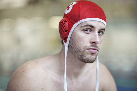 Water polo player outside pool,portrait LANG_EVOIMAGES