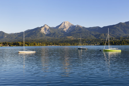Austria,Carinthia,Lake Faak with mountain Kepa