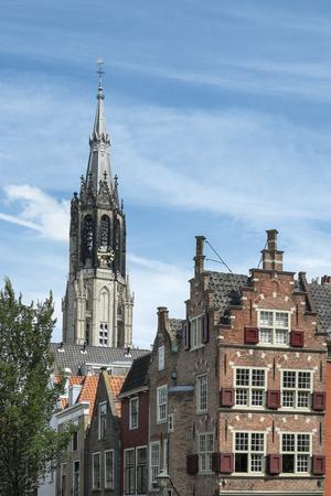 Netherlands,Delft,Town houses and Nieuwe Kerk LANG_EVOIMAGES