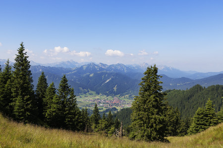 Germany,Bavaria,Ammergau Alps,View from Hoernle to Unterammergau