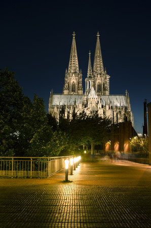 Germany,North Rhine Westphalia,Cologne,Cologne Cathedral by night