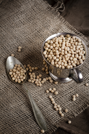 Dried soy beans in a metal cup with spoon on jute fabric,studio shot LANG_EVOIMAGES
