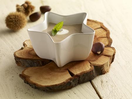 Sweet chestnut soup in bowl