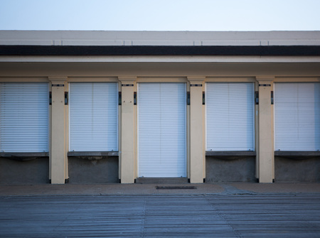 France,Normandy,Deauville,Boardwalk and house with sunblinds LANG_EVOIMAGES