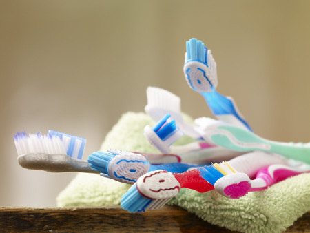 Toothbrushes on towel