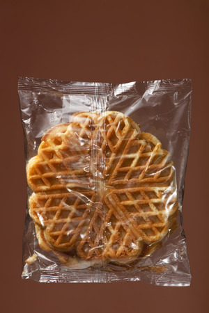 Waffles in transparent plastic wrapping
