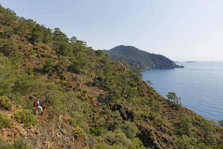 Turkey,Lycia,Woman looking over Olympos National Park