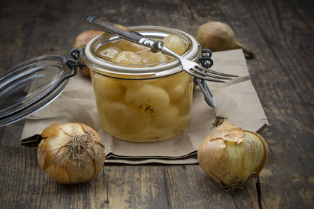 Pickled onions in preserving jar