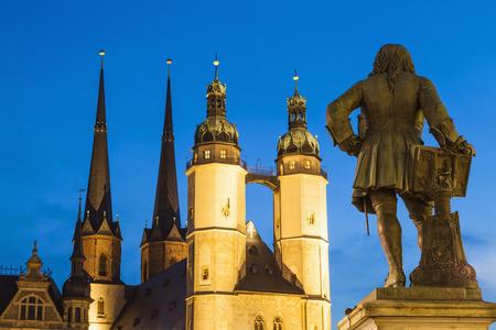 Germany,Saxony-Anhalt,Halle,Market square with Market Church and Haendel Memorial at dusk