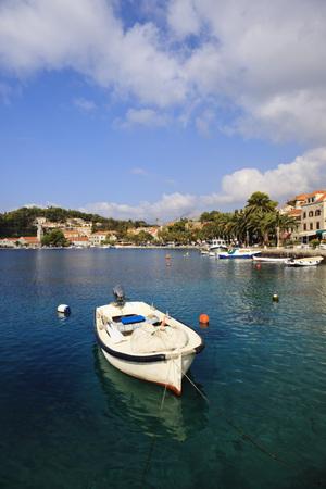 Croatia,Cavtat,Boat in harbour bay