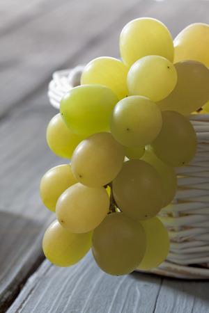 Green grapes (Vitis vinifera) in white basket,close-up