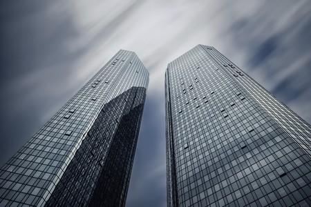 Germany,Hesse,Frankfurt,high-rise buildings of Deutsche Bank,long exposure