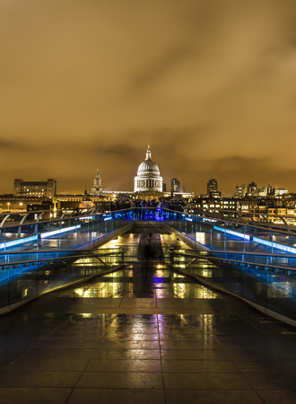 UK,London,view from Millennium Bridge to illuminated St Pauls Cathedral