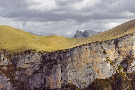 Spain,Pyrenees,Ordesa y Monte Perdido National Park,Canon de Anisclo with Sestrales Aloto and Bajo