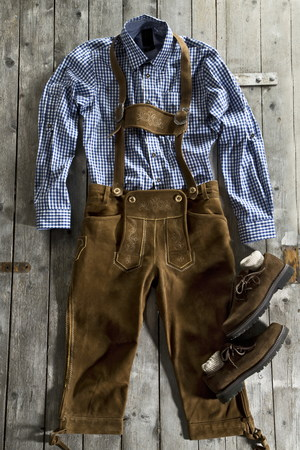 Leather trousers,traditional shirt and Haferlschuh,traditional Bavarian shoe