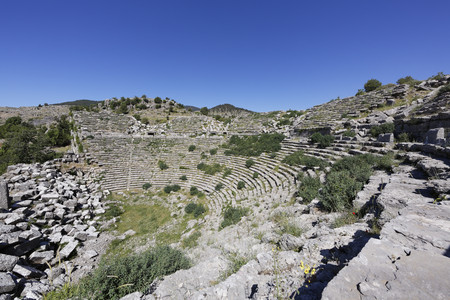 Turkey,Antalya Province,Manavgat,Koepruelue Canyon National Park,antique theater at archaeological site of Selge