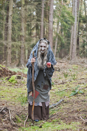 Germany,North Rhine-Westphalia,Moenchengladbach,Scene from fairy tale,witch holding an apple in the woods LANG_EVOIMAGES