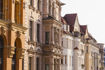 Germany,Saxony-Anhalt,Halle,Row of restored town houses LANG_EVOIMAGES