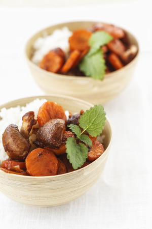 Two bowls of Thai jasmine rice with coconut milk and fried carrots and crimini mushrooms LANG_EVOIMAGES
