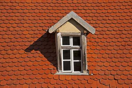 Part of a roof with dormer and beaver tail tiles LANG_EVOIMAGES