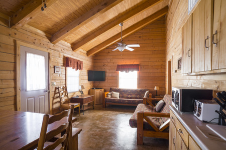 USA,Texas,interior of rustic log home cabin