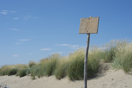 Italy,Beach dunes at Adriaic sea with old sign LANG_EVOIMAGES