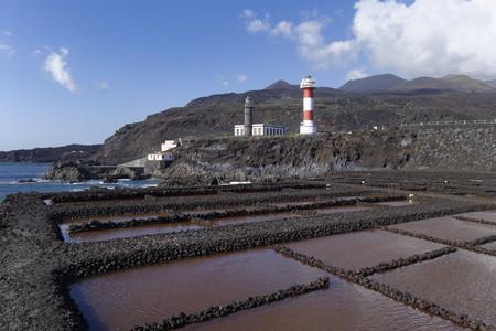 Spain, Canary Islands, La Palma, Fuencaliente, Saline, lighthouses and volcanoes Teneguia and San Antonio