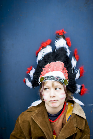 Portrait of boy masquerade like an Indian