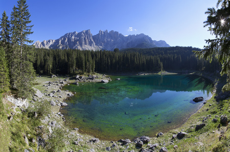 Italy,South Tyrol,Welschnofen,Karersee and Latemar group