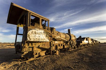 South America,Bolivia,Salar de Uyuni,train cemetery,wreck of a steamer LANG_EVOIMAGES
