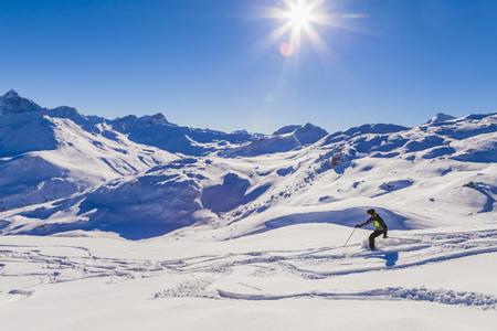 Switzerland, Graubuenden, Savognin, Ski Area, skier LANG_EVOIMAGES