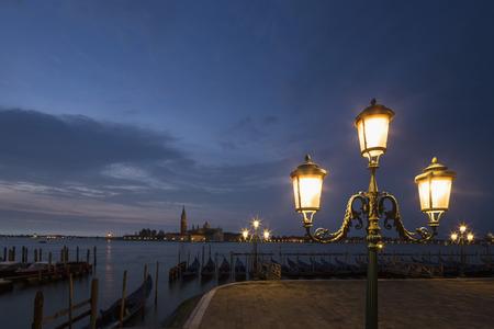 Italy, Venice, Promenade with view to San Giorgio Maggiore at night