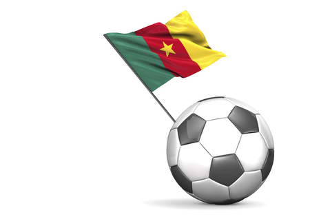 Football with flag of Cameroon, 3d rendering