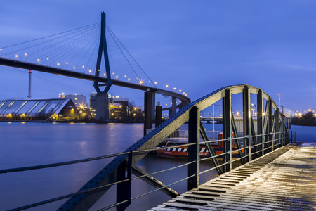 Germany, Hamburg, The Koehlbrandbruecke in the Port of Hamburg